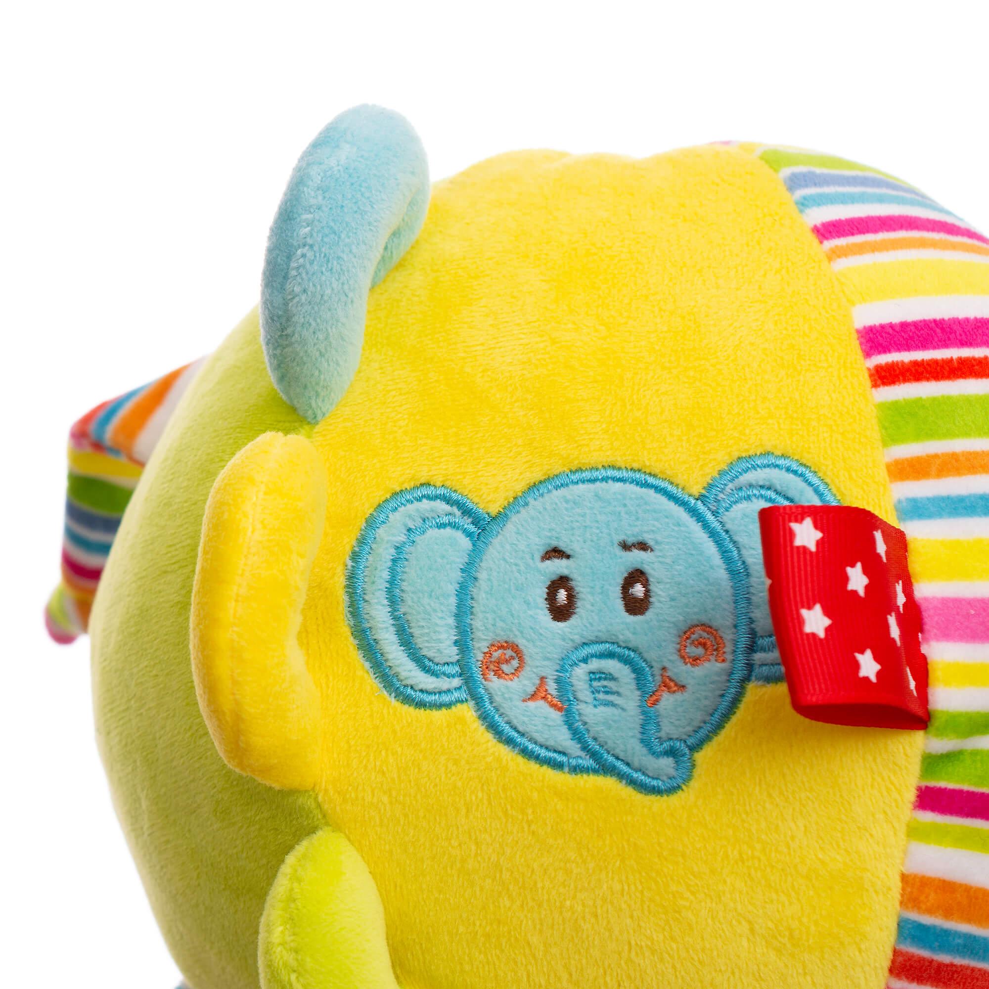 Baby Hug - Minge din plus multicolora cu clopotel