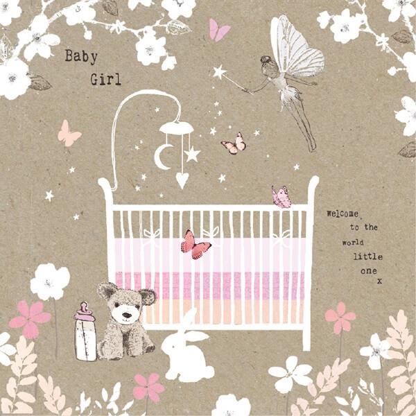 Felicitare vintage patut Baby Girl