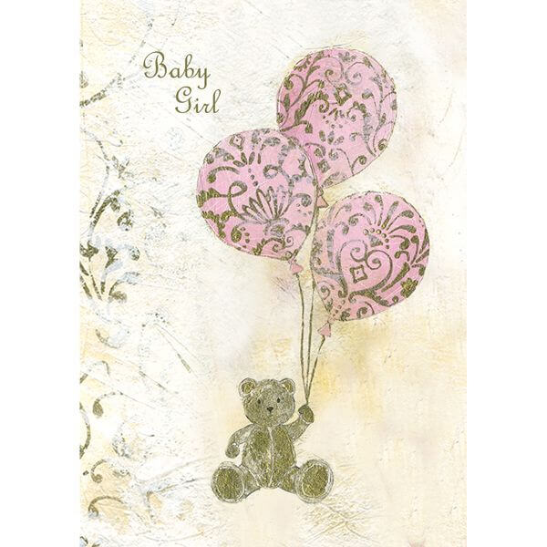 Felicitare vintage Teddy Balloon roz
