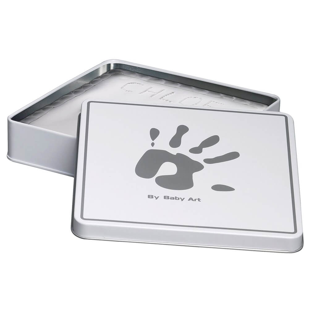 Magic Box - Cutiuta patrata mulaj amprenta piciorus sau manuta white&grey