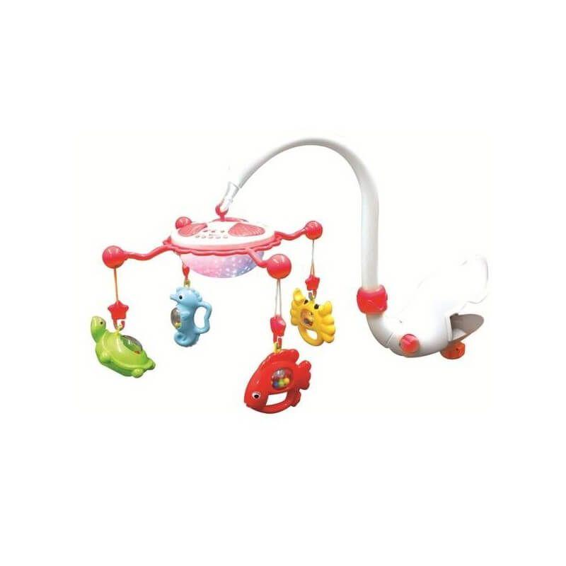 Baby Mix - Carusel muzical cu proiectie Aqua Magic - rosu