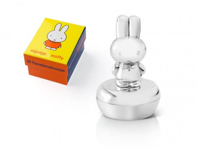 Cutiuta argintata Miffy pentru suvita sau dintisor