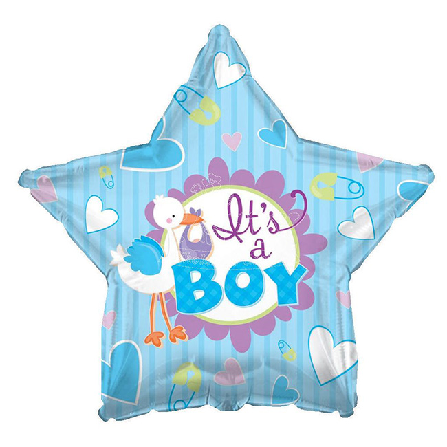 Balon din folie barza bleu It is a Boy 45 cm