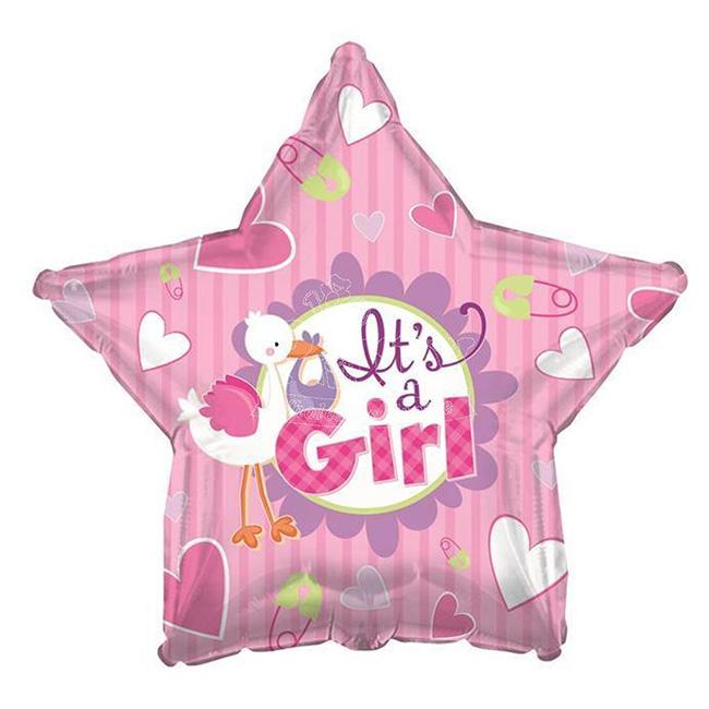 Balon din folie barza roz It is a Girl 45 cm