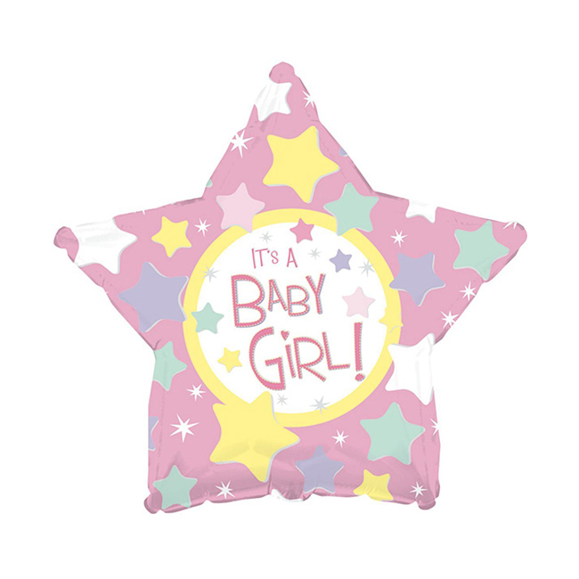 Balon din folie stea roz It is a Girl 45 cm