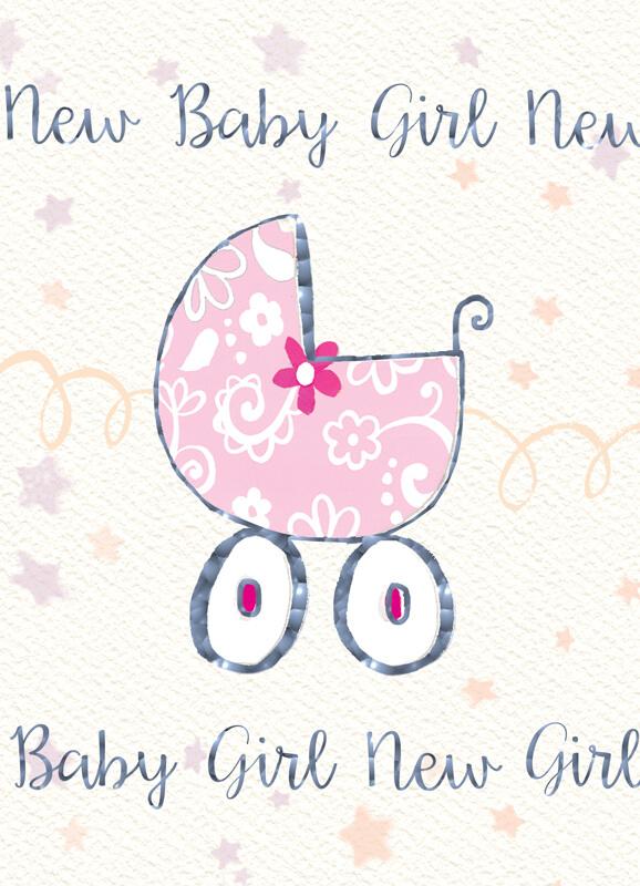 Felicitare cu floare si carucior New Baby Girl