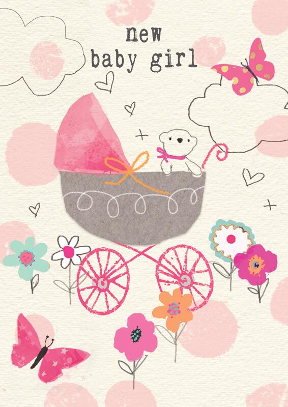 Felicitare ursulet si carucior New Baby Girl
