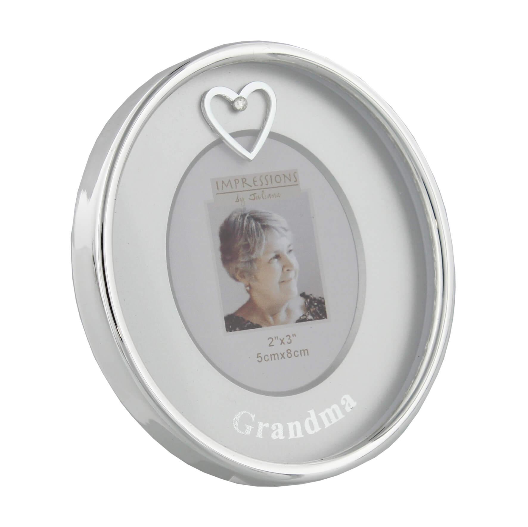 Rama foto ovala argintata Grandma