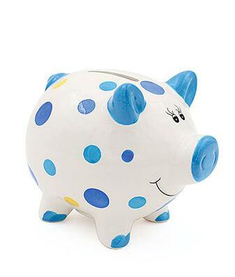 Pusculita porcusor cu buline colorate pentru baietel