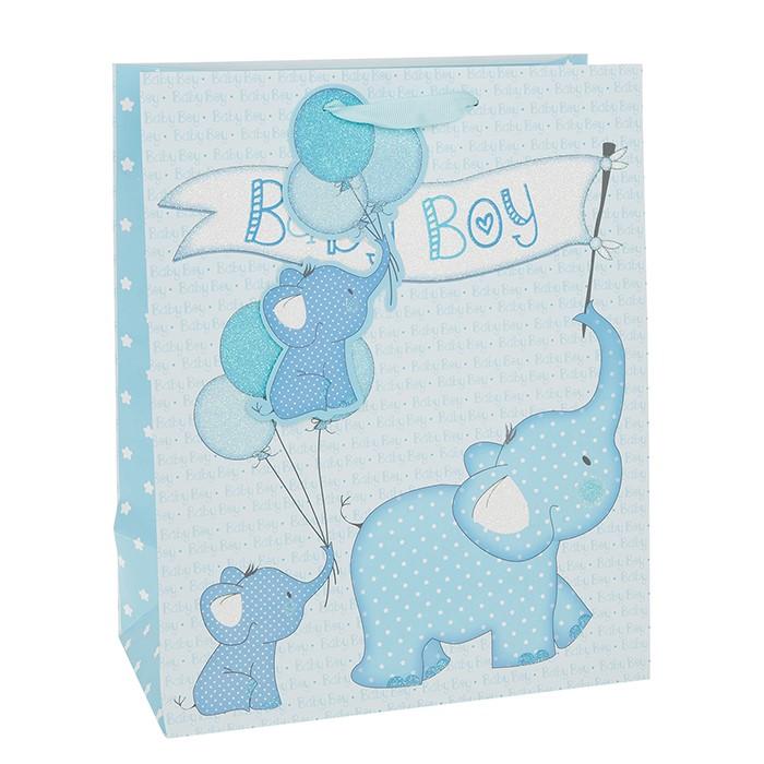 Punga de cadou cu elefantel baby boy medie