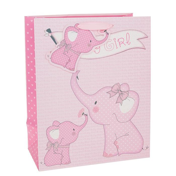 Punga de cadou cu elefantel baby girl mare