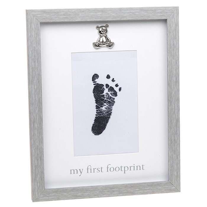 Rama foto gri cu amprenta cerneala - My first Footprint