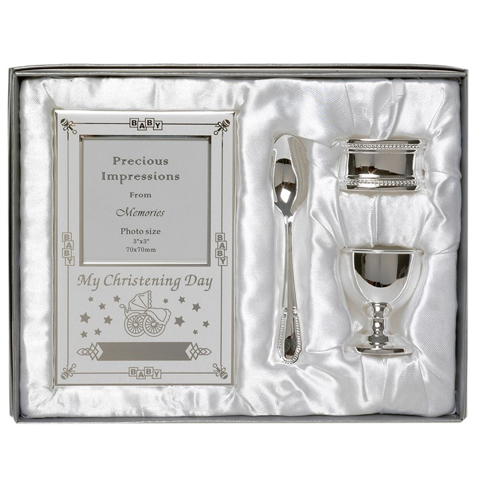 Set argintat cadou pentru botez 4 piese