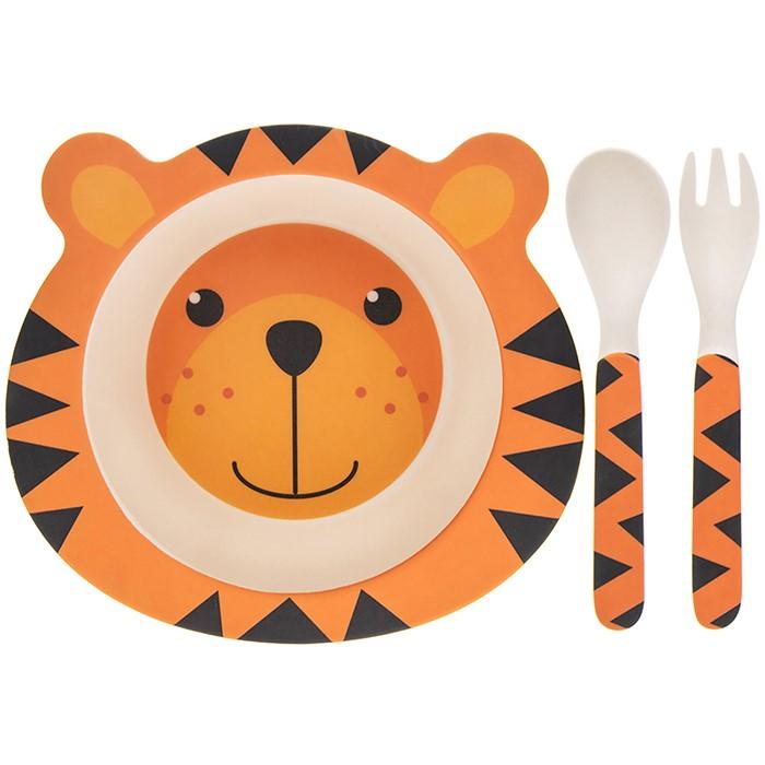 Set mic dejun eco bambus 3 piese tigru