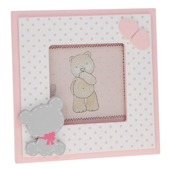 Tiny Ted - Rama foto roz din MDF