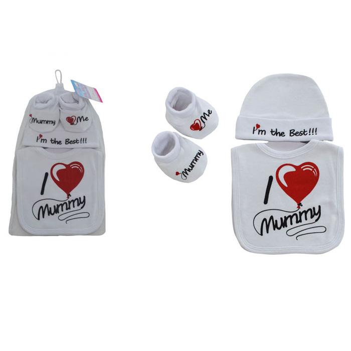 Set caciulita, botosei si bavetica - I love Mummy