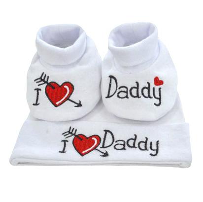 Set caciulita si botosei - I love Daddy