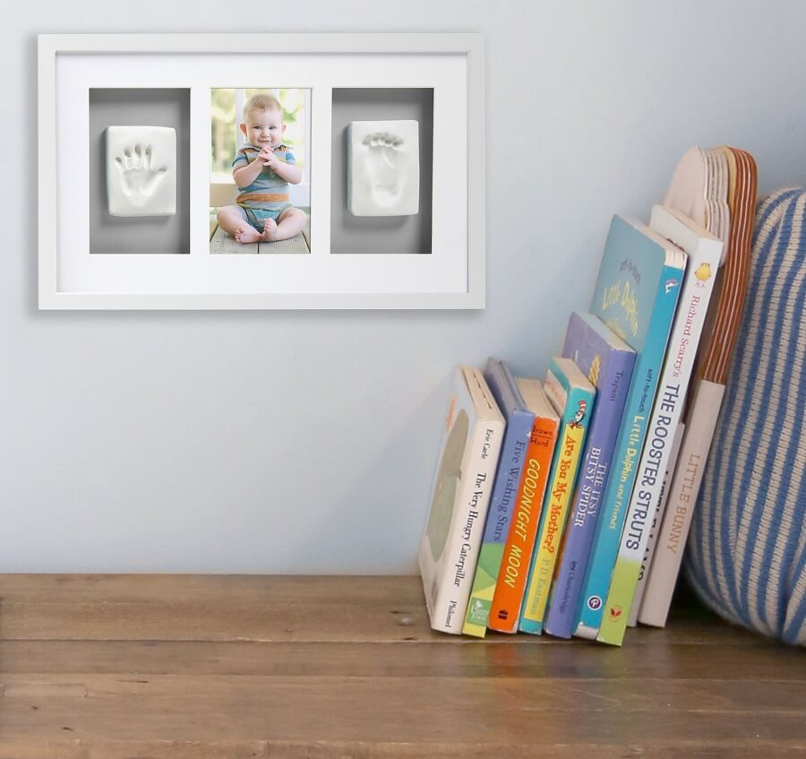 Pearhead - Kit rama foto white and grey cu amprenta mulaj manuta si piciorus