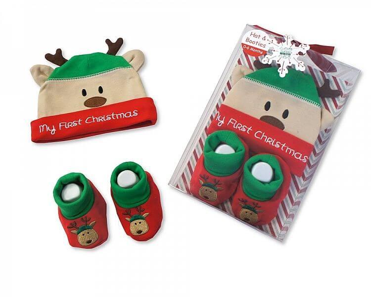 Set cadou Craciun cu caciulita si botosei My First Christmas