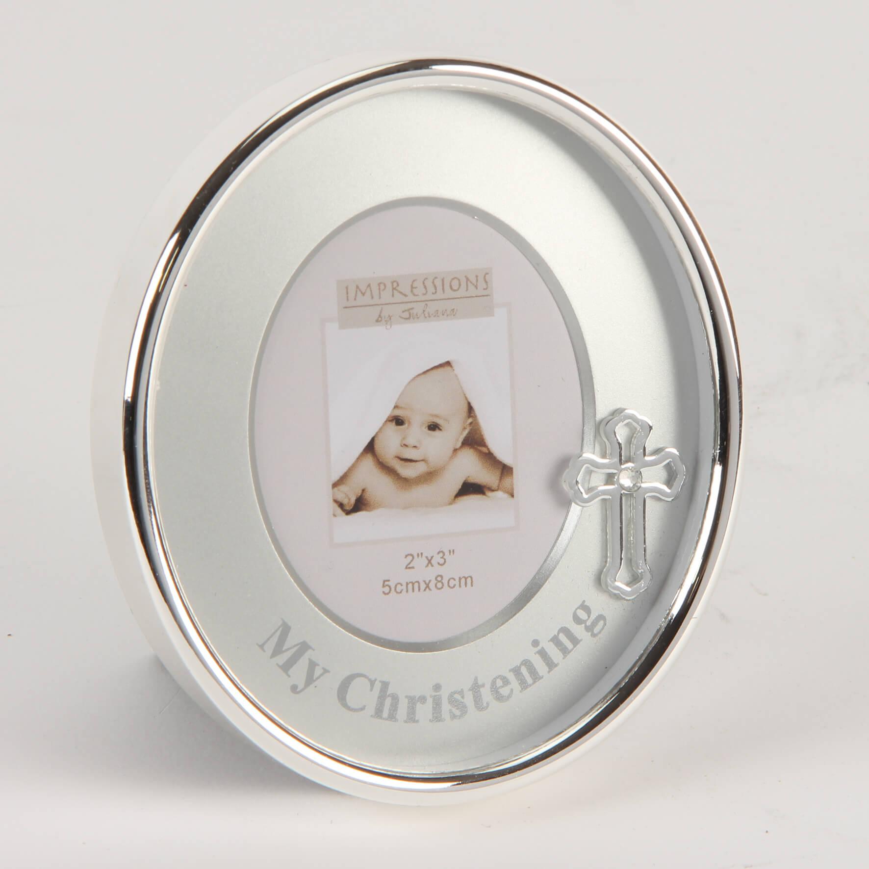 Rama foto argintata Christening ovala