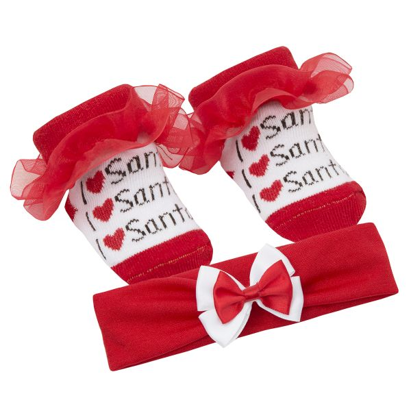 Set Craciun cu bentita si sosetute pentru fetite - model I love Santa