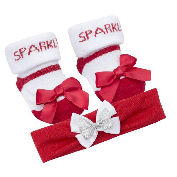 Set Craciun cu bentita si sosetute pentru fetite - model Sparkle