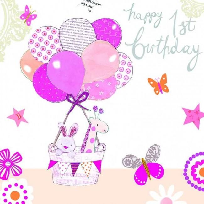 Felicitare Baby's 1st Birthday roz