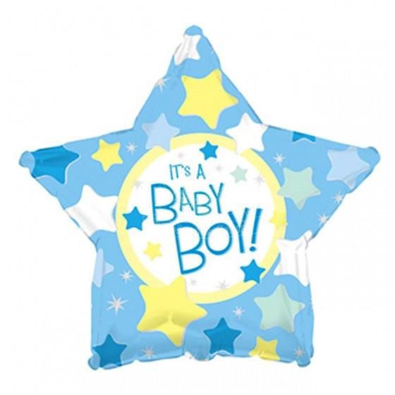 Balon din folie stea bleu It is a Boy 45 cm