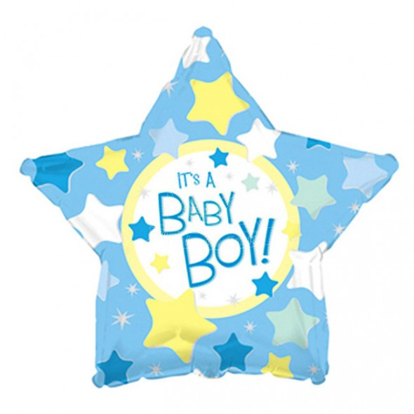 Balon din folie stea bleu It is a Boy 45 cm