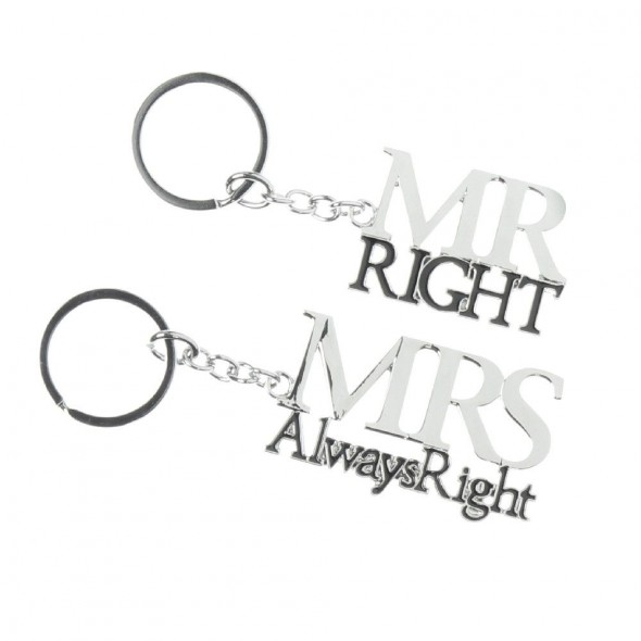 Amore - Set brelocuri argintate Mr and Mrs Right