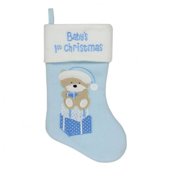 Cizmulita bleu pentru cadouri primul Craciun al bebelusului