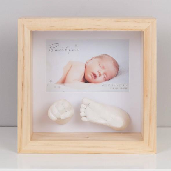 Bambino by Juliana - Rama foto natural cu amprenta manuta si piciorus 3D