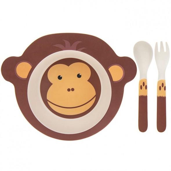 Set mic dejun eco bambus 3 piese maimuta