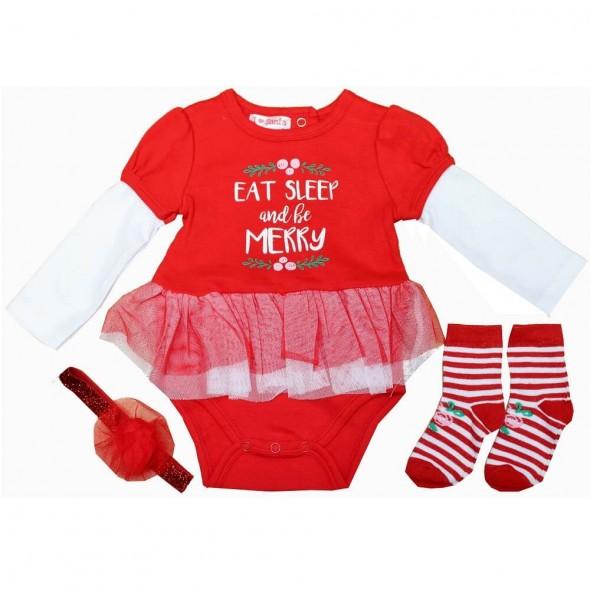 Set cadou hainute Craciun 3 piese - Eat, Sleep and be Merry