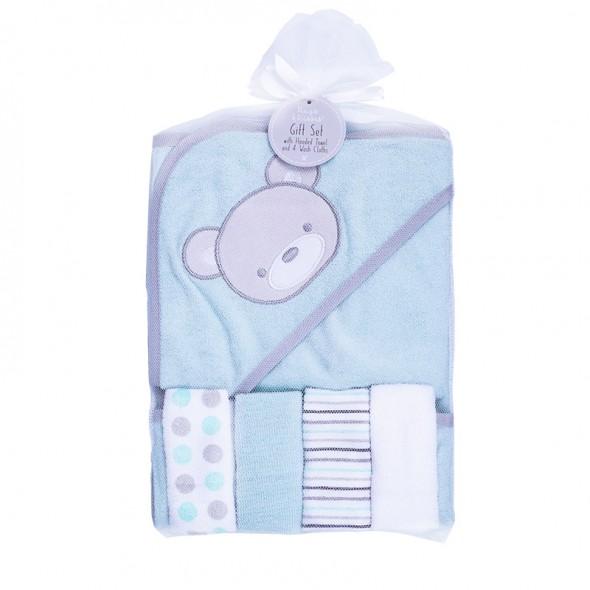 Hugs and Kisses - Set cadou prosop de baie cu gluga si mini prosopele cu ursulet