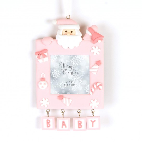 Rama foto roz Merry Christmas Baby