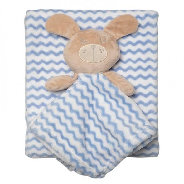 Set cadou pentru bebelusi cu jucarie plus si paturica - model iepuras