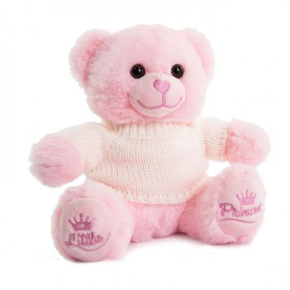 Ursulet de plus roz cu tricou si mesaj Little Princess