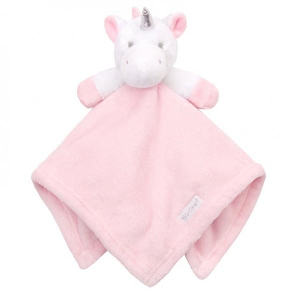Jucarie unicorn roz cu paturica Baby Town