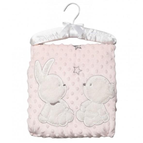 Paturica pufoasa bebelusi cu iepuras si ursulet - roz