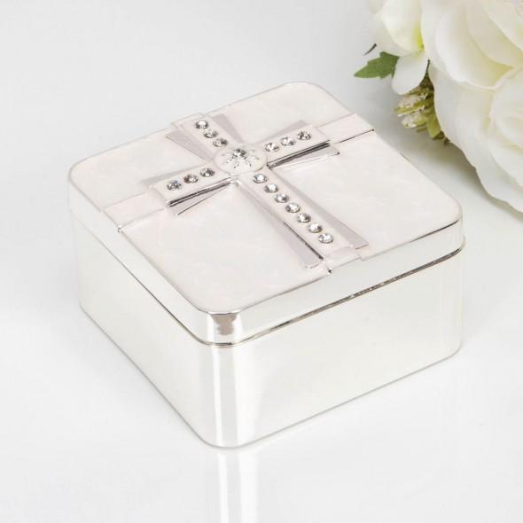 Cutiuta argintata pentru suvita sau dintisor - model cruciulita