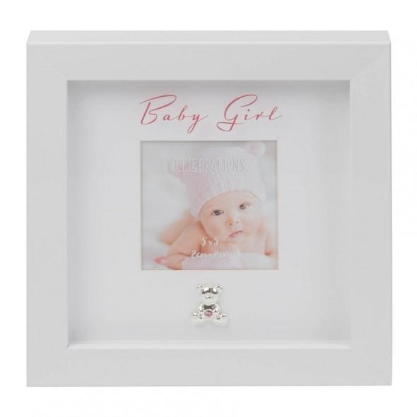 Rama foto alba cu ursulet Baby Girl