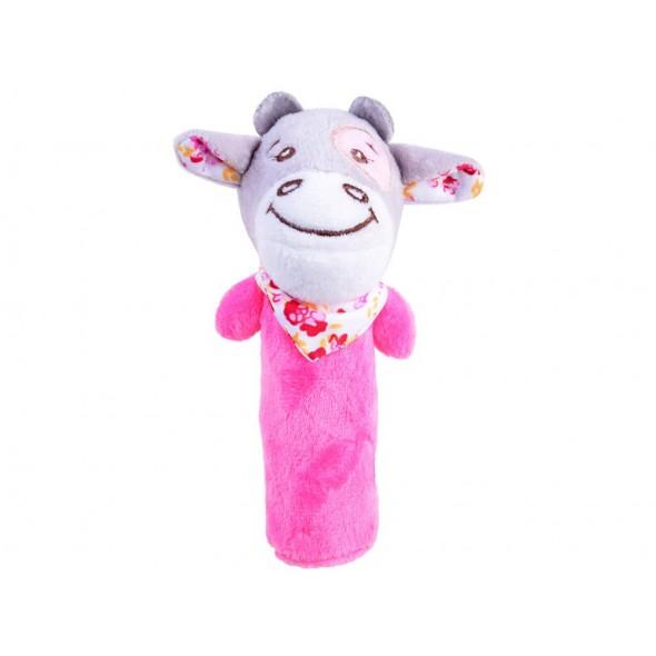 Jucarie chitaitoare pentru bebelusi vacuta roz
