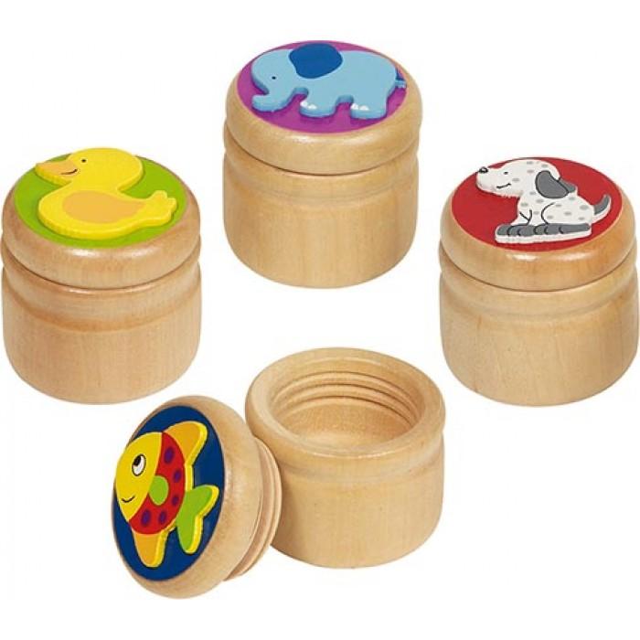 Cutiuta din lemn pentru suvita sau dintisor model animalute Goki