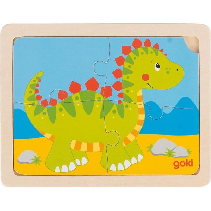 Puzzle din lemn 4 piese dinozaur Goki
