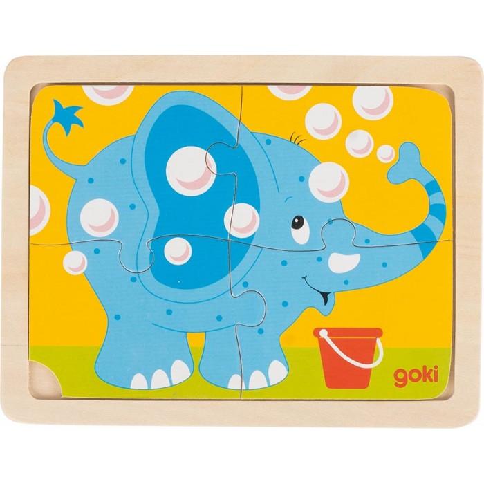 Puzzle din lemn 4 piese elefant Goki