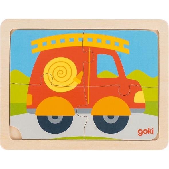 Puzzle din lemn 4 piese masina pomieri Goki