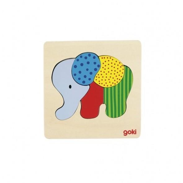Puzzle din lemn 5 piese elefant Goki