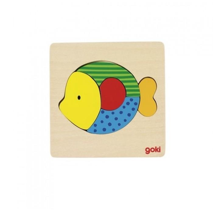 Puzzle din lemn 5 piese pestisor multicolor Goki
