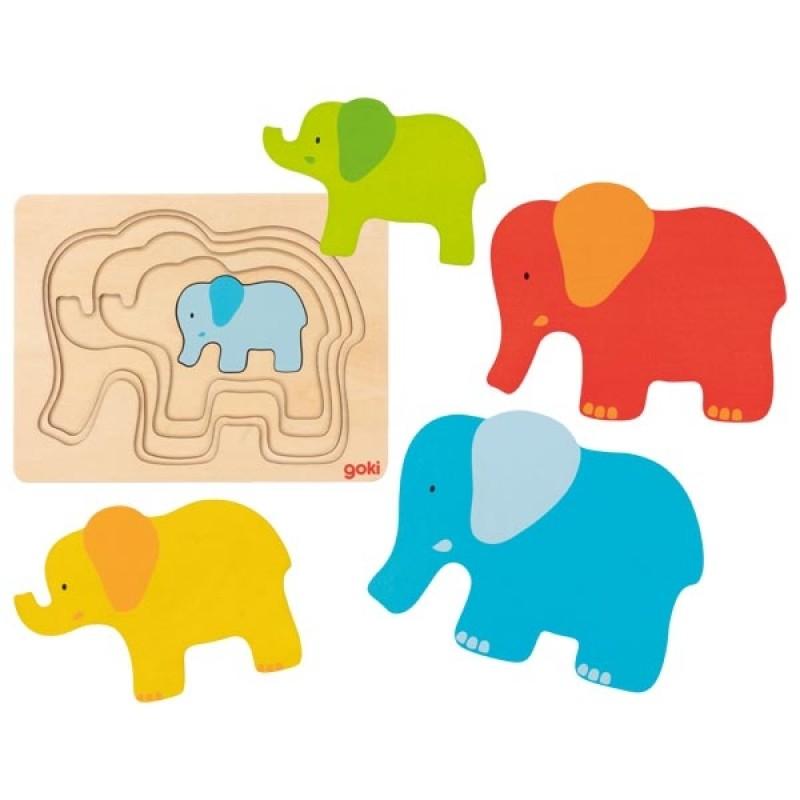 Puzzle stratificat din lemn elefantel Goki krbaby.ro